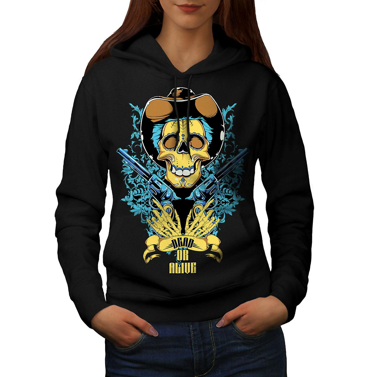 Dead Or Alive Gun Skull Women Black Hoodie | Wellcoda