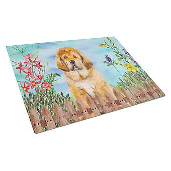Carolines Treasures  CK1283LCB Tibetan Mastiff Spring Glass Cutting Board Large
