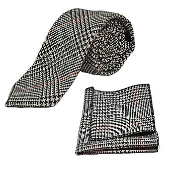 Black & White Dogtooth Check Tweed Tie & Pocket Square Set