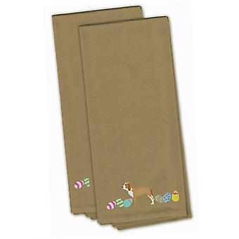 Sabueso Espanol Easter Tan Embroidered Kitchen Towel Set of 2