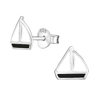 Sailboat - 925 Sterling Silver Colourful Ear Studs - W22930x