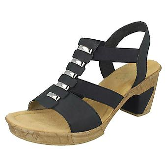 Ladies Rieker Smart Heeled Sandals 69792