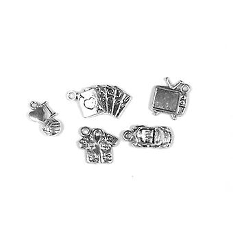 Packet 5 x Antique Silver Tibetan 15-25mm Boy Charm/Pendant Set ZX16855
