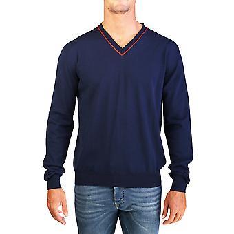 Dior Homme mäns bomull v-ringad stickad tröja Navy