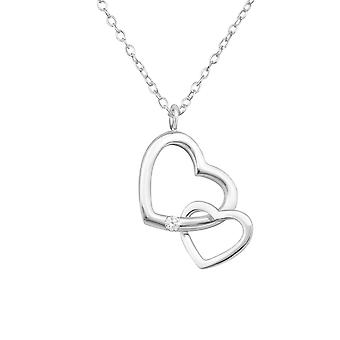 Double Heart - 925 Sterling Silver Jewelled Necklaces