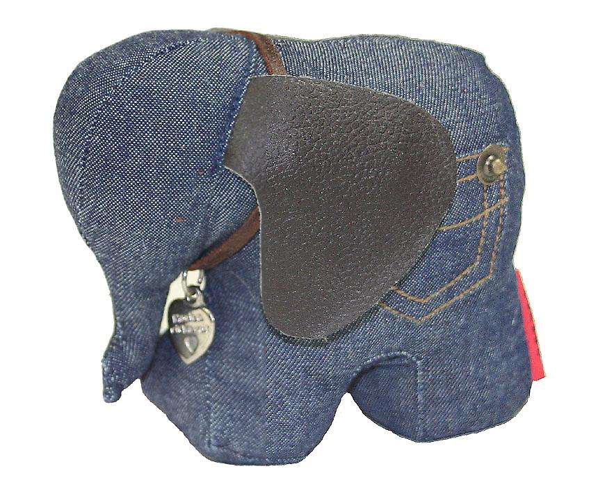 Denim Elephant Doorstop by Monica Richards