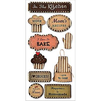 MultiCraft Kraft Paper Elements Stickers-Love To Cook
