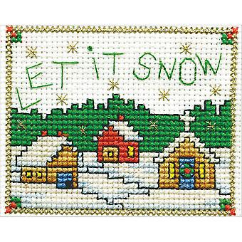 Let It Snow W/Frame Mini Counted Cross Stitch Kit-2