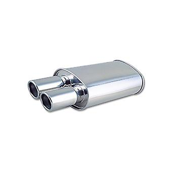 Vibrant Performance 1024 STREETPOWER Oval Muffler w/Dual 3in. Round Angle Cut Tips 2.5in. Inlet w/8in. Tip STREETPOWER O