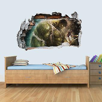 Vinyl Wall Smashed 3D Art Stickers of Illustrated Hulk Poster Bedroom Boys Girls