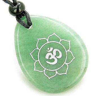 Magiska OM och Lotus Sun cirkla amulett grön Aventurine Lucky Wish sten halsband