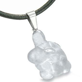 Lykke sjarm Turtle Amulet Crystal Rock kvarts Gemstone beskyttelse Healing anheng ledningen halskjede