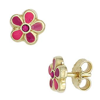 Kids flower Stud Earrings pink 333 gold yellow gold children's jewellery girl earrings