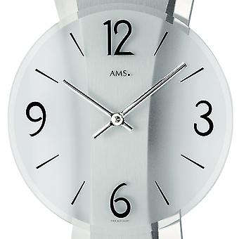 Wall clock quartz polished aluminum pad on chrome-plated rear panel