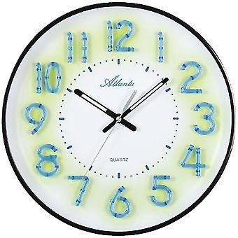 Atlanta 4459/7 wall clock quartz analog black white silent no tick