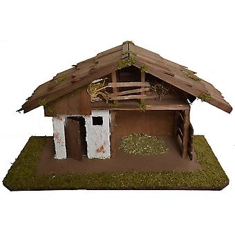 Christmas Nativity scene wood Nativity stable JOAH without figures 55 x 29 x 31 cm hand work