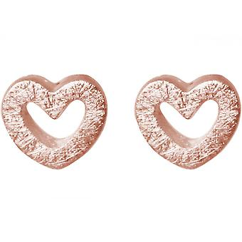 Ladies heart earrings 925 Silver rose gold plated 7 mm