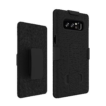 KuKu Mobile Rubberized Shell Case Kickstand Holster for Samsung Note 8 (Black)