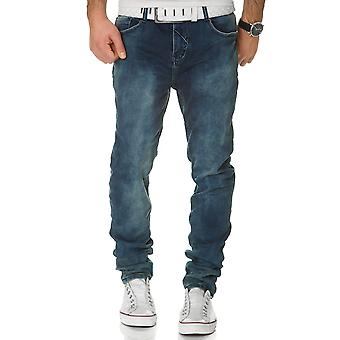 Sub level men's sweat denim pants trousers dark blue