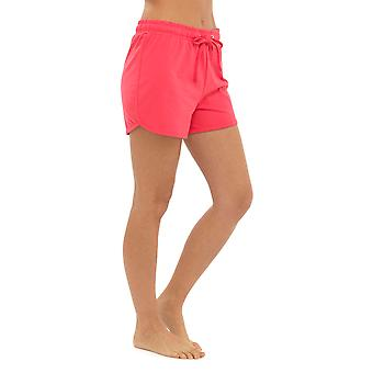 Womens Ladies Solid Colour Elasticated Cotton Blend Summer Beach Shortie Shorts