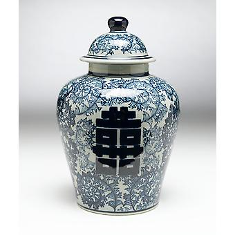 AA Importing 59730 Antiqued Pale Green And Blue Ginger Jar With Lid