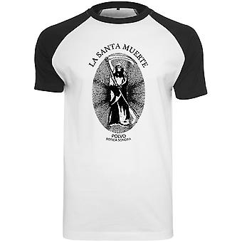 Camiseta Merchcode - Raglan Santa Muerte blanca