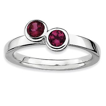 Sterling Silver Bezel polerad rodium-plated stapelbar uttryck Db runda rhodolit Garnet Ring - Ring storlek: 5 till 10