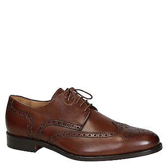 Leonardo Shoes Men's Handmade wingtip brogues shoes dark brown calf leather