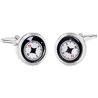 Zennor Compass Cufflinks - Black/White/Red