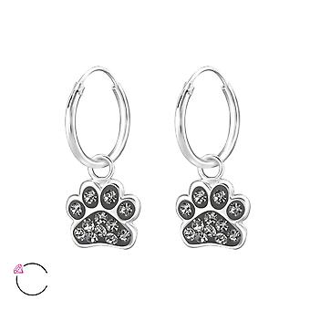 Paw Print - 925 Sterling Silver Hoops - W32872x