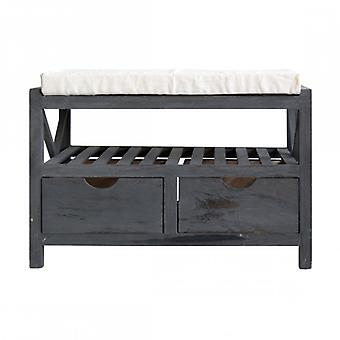 Dark grey Interior Vintage-style bench With 2 drawers-Re4551-Rebecca's Furniture