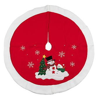 TRIXES 90cm Snowman Red and White Christmas Tree Skirt Decorative Cover