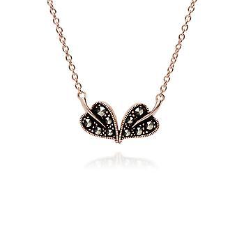 Gemondo Rose Gold Plated Sterling Silver Marcasite Leaf Design 42cm Necklace