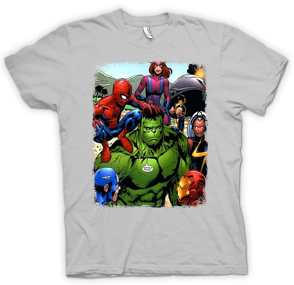 Mens t-skjorte-Hulk Spiderman Iron Man