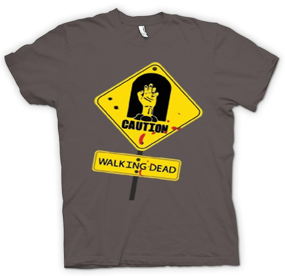 Womens T-shirt - Caution - Walking Dead Zombie Warning Sign