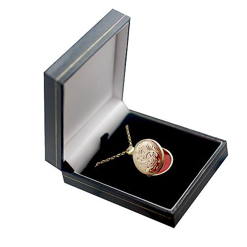 9ct Gold 23mm hand engraved flat round Locket with a belcher Chain 16 inches Only Suitable for Children