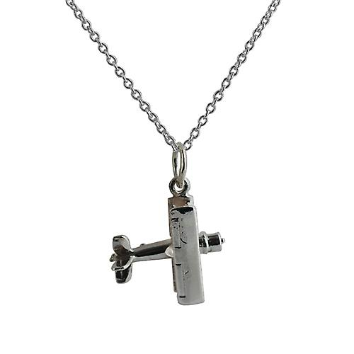 Silver 16x18mm Bi Plane Pendant with a rolo Chain 14 inches Only Suitable for Children