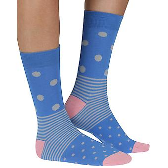 Spot n Stripe bamboo organic crew socks in blue | seriouslysillysocks