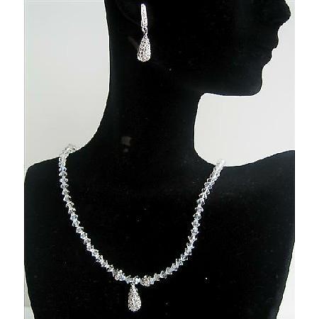 Moonlite Swarovski Crystals Rondells w/ Cubic Zircon Teardrop Jewelry