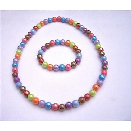 Girls Stretchable Necklace & Bracelet Multicolored Fancy Beads