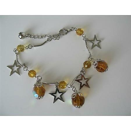 Christmas Bracelet Dangling Simulated Topaz Crystals & Star Bracelet