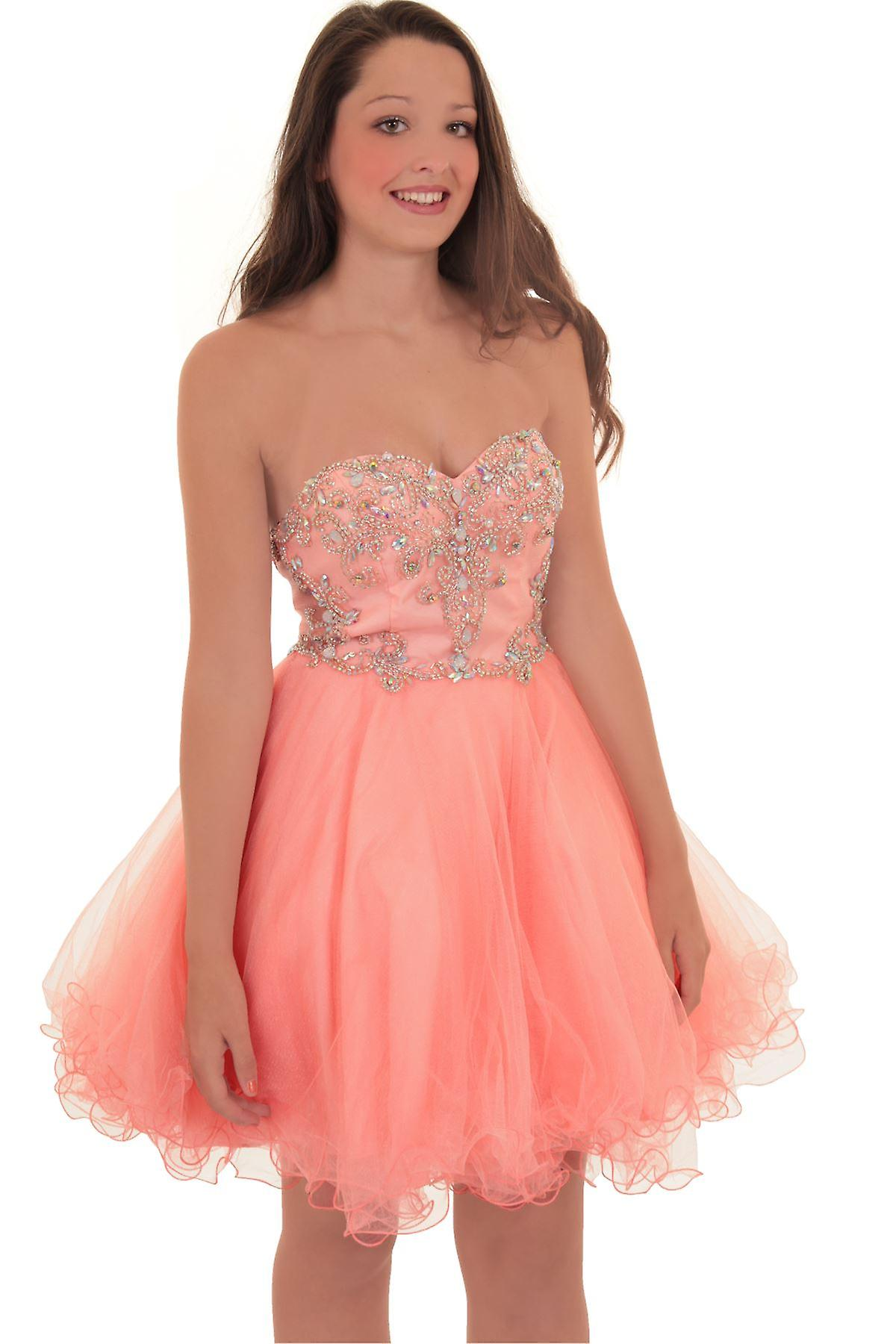Short Mini Boobtube Chiffon Puff Tutu Prom Bridesmaid Mesh Cocktail Party Dress
