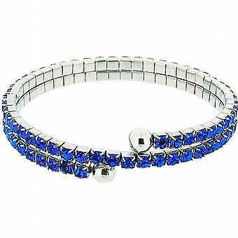 The Olivia Collection Royal Blue Double Row Glass Set Bangle