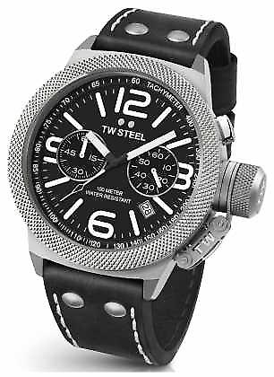TW Steel Mens Canteen 50mm Chrono Black Leather Strap CS4 Watch