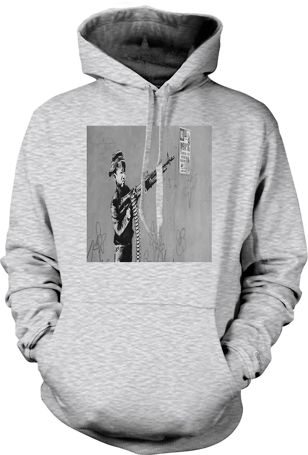 Mens Hoodie - Banksy Kid avec M60 Machien Gun Wall Design