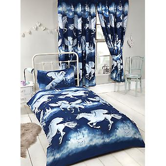 Navy Blue Stardust Unicorn 4 en 1 Junior Bedding Bundle Set