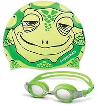 Head Meteor Junior Character Goggle & Swim Cap Set- green turtle