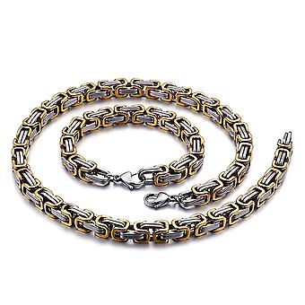 5mm royal chain bracelet men's necklace men's chain necklace, 18cm silver / gold stainless steel chains