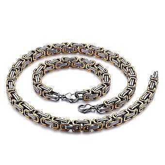 Bracelet de chaîne royale 5mm collier homme pour hommes, 18cm argent / or chaînes en acier inoxydable