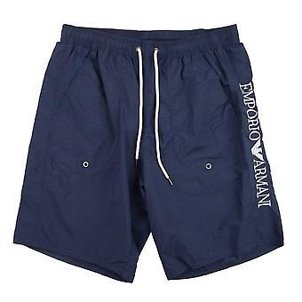 Emporio Armani Side Logo Swim Shorts Navy Blue